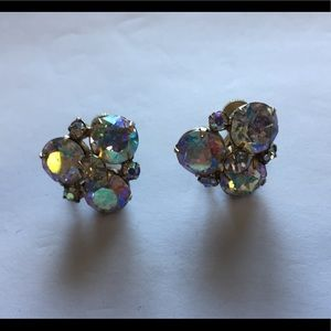 "Vintage signed ""Sherman"" aurora borealis earrings"